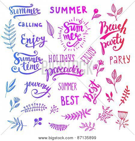 Summer Calligraphic Designs Set with Flowers, Floral Ornaments, Labels and Leaves. Retro Hand Drawn Elements for Summer Holidays Posters, Banners and Flyers. Paradise, Beach Party, Adventure Time