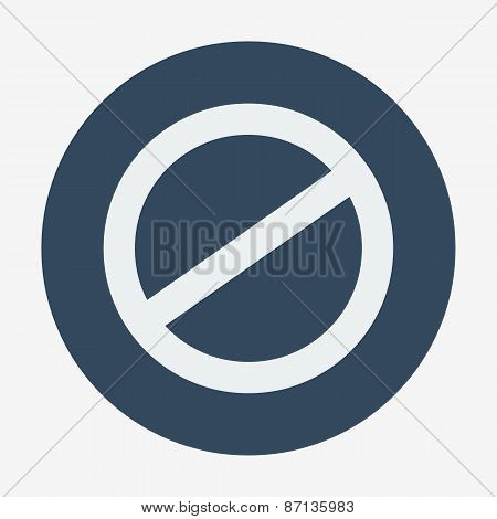 Single flat deny icon. Vector illustration. Cancel icon.