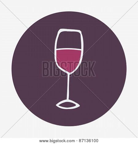 Hand-drawn icon with wine glass. Vector illustration.
