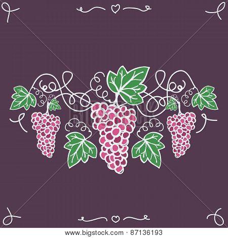 Hand-drawn decorative ripe grapes. Vector illustration,