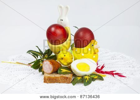 Eggs and food, Easter symbol celebrating the resurrection of Jesus Christ, polish traditional wielka