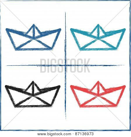 Hand drawn paper boats. Vector illustration