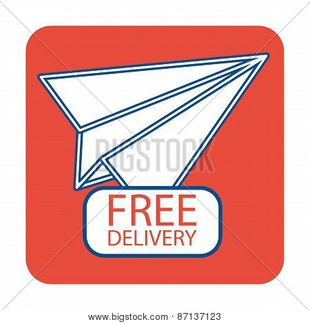 Free delivery icon with paper plane