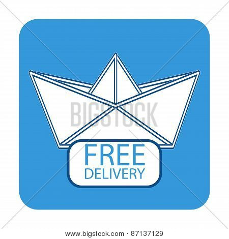 Free delivery icon with paper boat