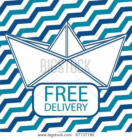 Free delivery icon with paper boat.