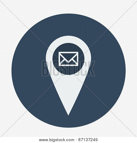 Single geo tag mail icon. vector illustration