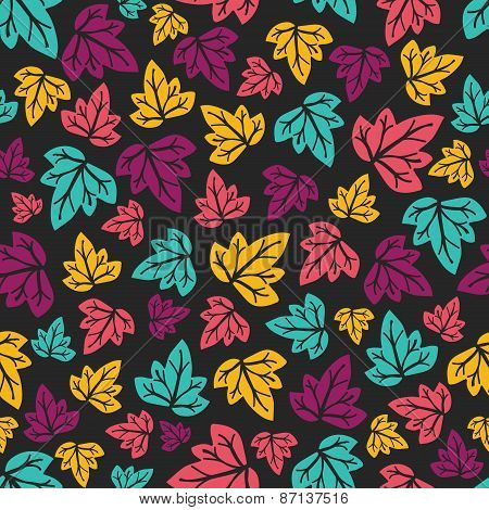 Hand-drawn seamless pattern. Vector illustration. Colourful leaves