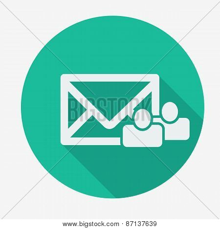 Mail icon, envelope with globe. Flat design vector illustration.