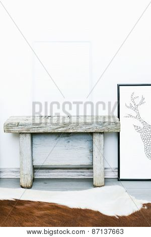 Poster With Place For Text. Mock Up. Hipster Scandinavian Style Room Interior.