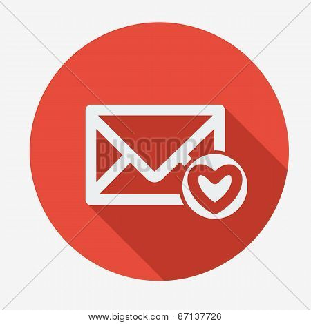 Mail icon, envelope with heart. Flat design vector illustration.