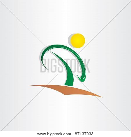 Letter P Tree And Sun Icon