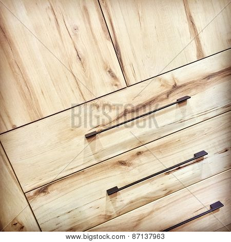 Wooden Dresser With Metal Handles