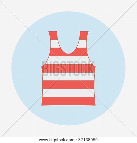 Pirate icon, striped singlet. Flat design vector illustration.