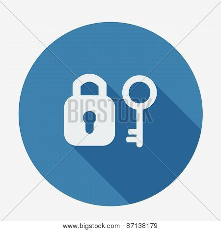 Single flat icon with long shadow. Key and padlock.