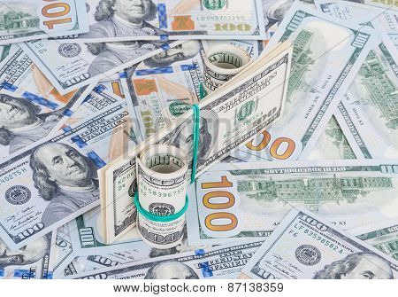 Percent symbol on money background