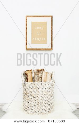 Wooden Frame Keep It Simple.  Mock Up.  Hipster Scandinavian Style Room Interior.