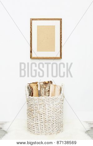 Wooden Frame With Place For Text. Mock Up.  Hipster Scandinavian Style Room Interior.