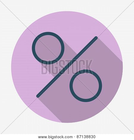 Flat style icon, percent symbol vector illustration.