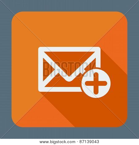Mail icon, envelope with plus sign. Flat design vector illustration.