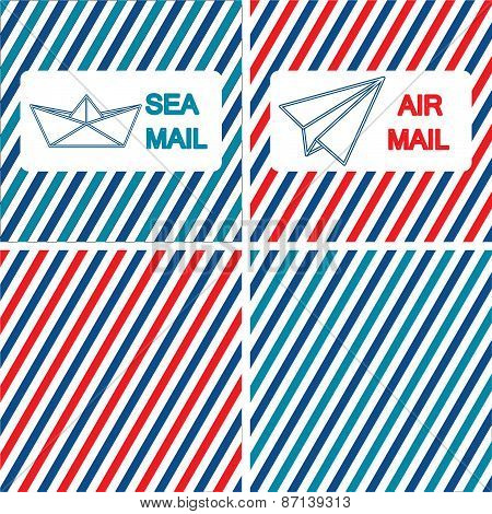 Set of air and sea mail vector illustrations on the striped background