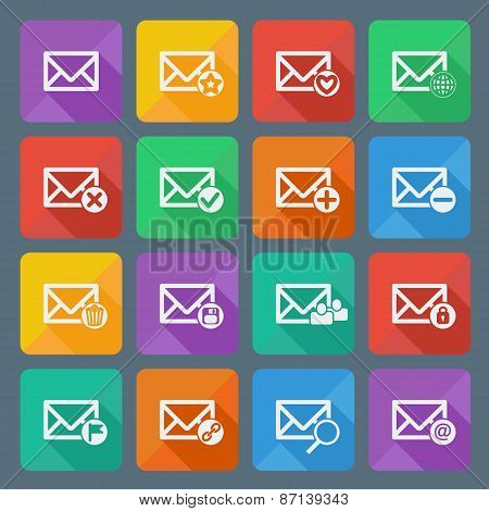 Set of sixteen vector mail icons for web applications, email icons design. Vector illustration.