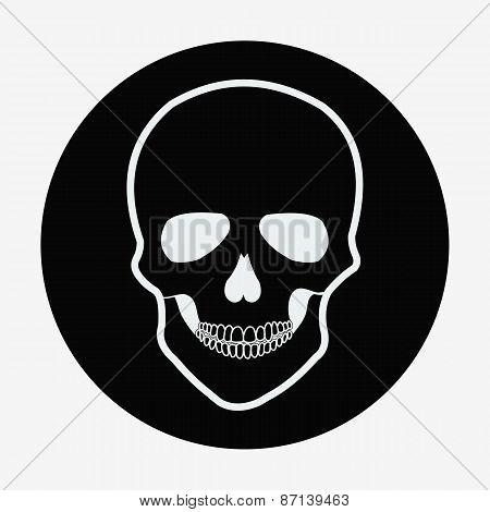 Single flat skull icon. Vector illustration