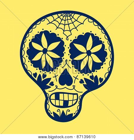Hand-drawn sugar skull. Vector illustration. Doodle style