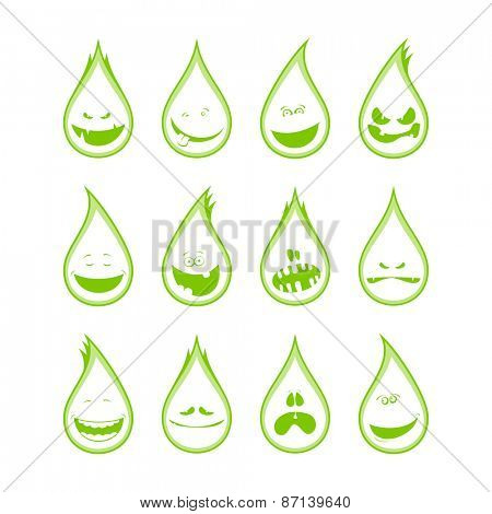 Collection of a funny drops symbols, different emotions.