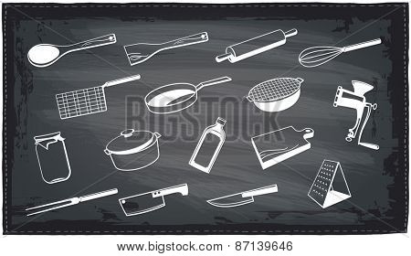 Kitchen utensils chalkboard design.