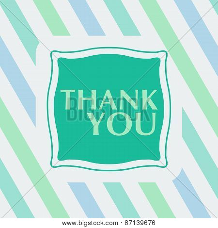 Thank you note on the striped background. vector illustration