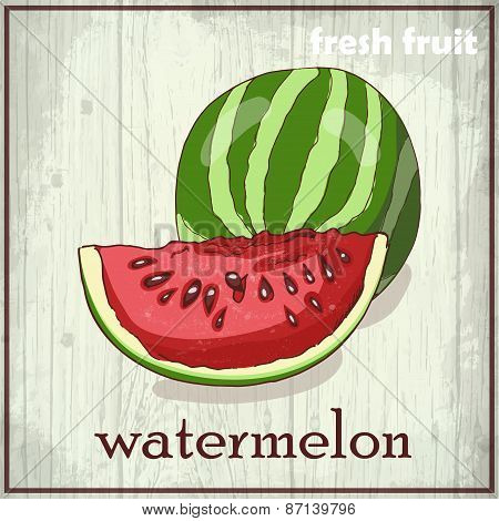 Hand Drawing Illustration Of Watermelon. Fresh Fruit Sketch Background