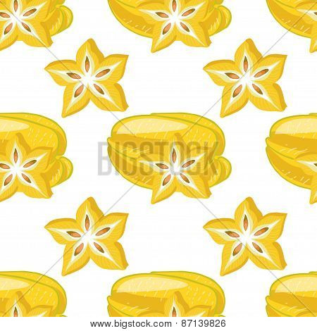 Seamless Pattern With Carambolas