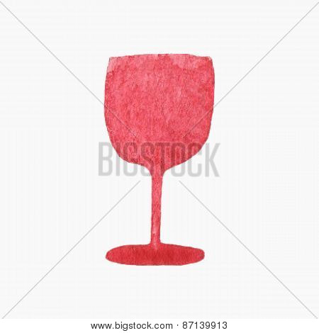 Vector illustration. Glass of red wine. Hand-drawn object. Real watercolor drawing