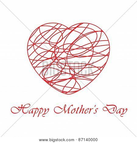 Mothers Day Card With Contoured Heart