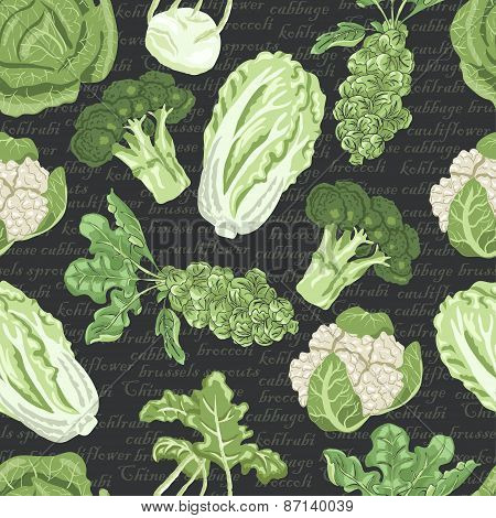 Seamless Pattern With Different Varieties Of Cabbage On Dark Background