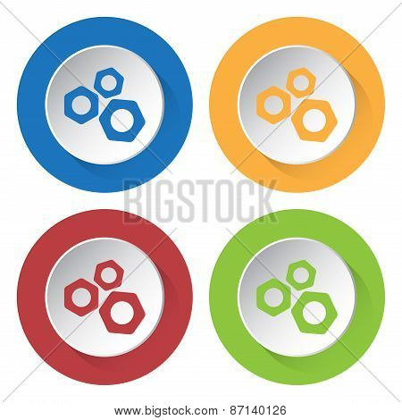 Set Of Four Icons With Nuts