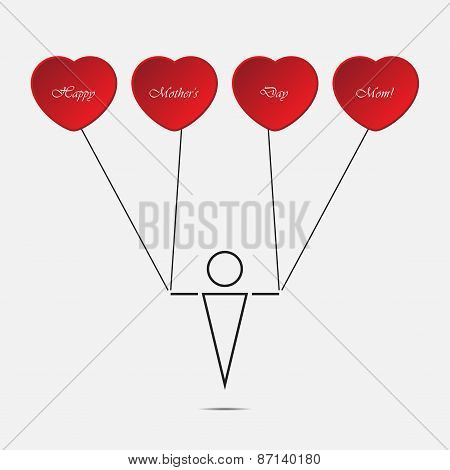 Boy And Heart Balloons With Text