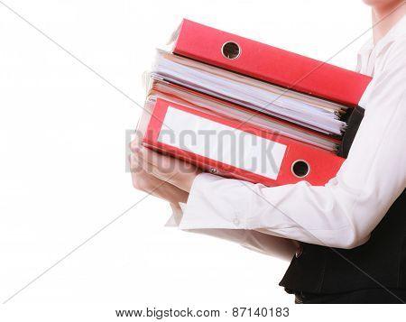 Paperwork. Documents In Hands Of Businesswoman