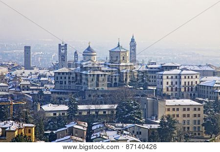 Skyline View Of Bergamo Old Town, Italy