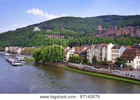 Barges In The River And Cityscape In Summer Heidelberg