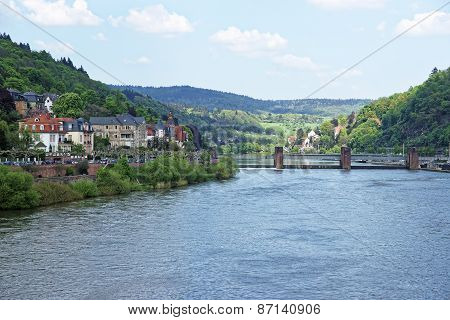 Landscape Of Quay And Dam On Neckar River In Summer Heidelberg