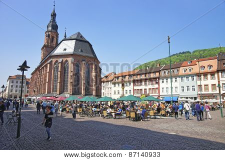People On Central Square In Heidelberg