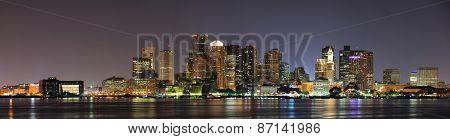 Urban city night scene panorama from Boston Massachusetts.