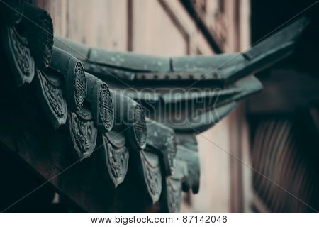 Old roof closeup in Lijiang, Yunnan, China.