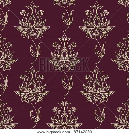 Vintage ethnic flourish seamless pattern