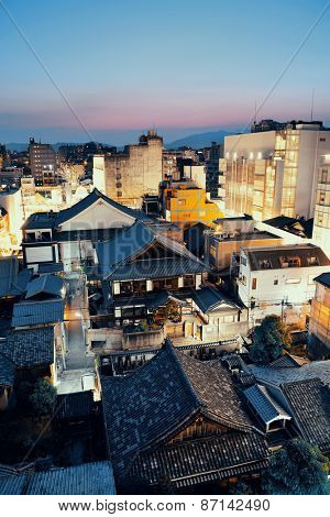 Kyoto city rooftop view at night from above. Japan.