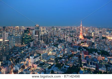 Tokyo urban skyline rooftop view at night, Japan.