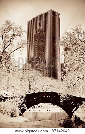 Central Park winter with skyscrapers and bridge in midtown Manhattan New York City