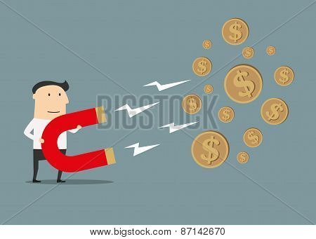 Businessman catching money with magnet