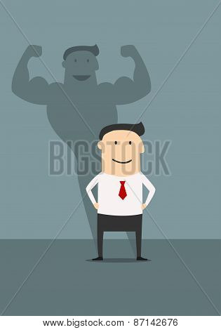 Businessman with powerfull muscular shadow